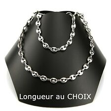 Set Man Chain + Bracelet Bean Chain 6,5 MM Stainless Steel of Your Choice