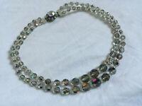 VINTAGE Iris Rainbow Glass Double Strand Necklace - Beaded Decorative Clasp
