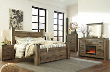Rustic Brown 5 piece Bedroom Set w. Fireplace with Queen Poster Storage Bed IA2F