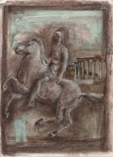 DOROTHY KIRKBRIDE ABSTRACT Mixed Media Painting c1980 GREEK FIGURE ON HORSE