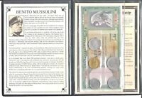 Benito Mussolini Fascist, Set of 5 coins & 2 banknotes,  Album & Certificate