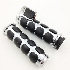 Chromed Rubber 25mm Hand Grips Pair for Harley Davidson Softail Fat Boy FLSTF