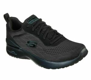 Womens Skechers All Black  SKECH AIR Lace Up Sports Gym Trainers Size UK 4 37