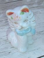 Vintage Ceramic Kitten with blue bow and gold trim whiskers made in Japan
