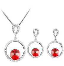Silver and Red Rhinestones Jewellery Hoops Stud Earrings and Necklace Set S687