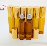 10 Pcs Lot Small 5ML Empty Perfume Roll On Metal Roller  Ball Glass Bottle