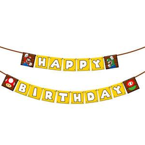 Super Mario Happy Birthday Banner Kids Bunting Garlands Party Flag Decoration