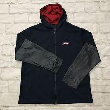 Vtg Tommy Hilfiger Jeans Mens M Light Hooded Zip Up Navy THJ 485 100% Polyester