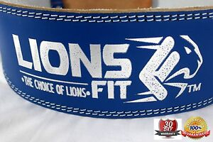 """LIONS FIT 4""""WIDE BLUE COLOR REAL LEATHER WEIGHT LIFTING, BODYBUILDING GYM BELT"""