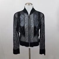 Joseph Ribkoff Jacket 8 Sheer Black Beaded Sequins Full Zip Mesh Floral