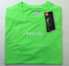 UNDER ARMOUR Fitted T Shirt Medium Green Neon Reflective Graphic RUN Mileage New