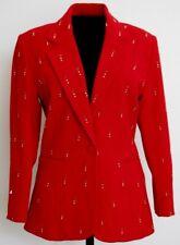 Focus 2000 Charles Gluech Womens Jacket Size 6 Blazer Red Gold Studs NEW