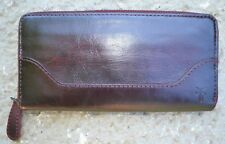 FRYE Melissa Zip Around Wallet Distressed Merlot NWOT