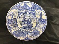"""Vintage Historic Boston Plate Japan Blue White 7 1/4"""" Souvenir USS Constitution"""