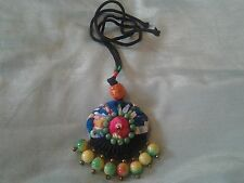 hand-made Chinese style cloth pendant necklace + rainbow & jade like beads