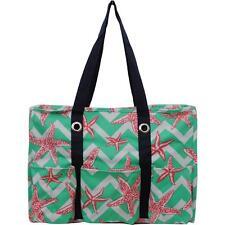 Multi Pocket Tote Bag Moms Nurses Teachers Canvas Sturdy Handbag Zip Top Beach