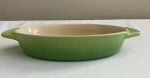 """LE CREUSET STONEWARE OVAL BAKING DISH ~ PALM (GREEN OMBRE)  12 X 6.75"""""""