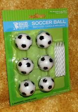 Soccer Topper Candle Holders/Candle, 6 count, Wax,Birthday,Sports topper set
