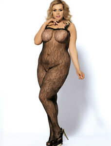 Black Butterfly Fishnet Crotchless Full Bodystocking Lingerie PLUS Size 14-18
