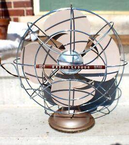 Vintage Westinghouse Art Deco Working Two Speed 4 Blade Fan Model # 12 c. 1940s