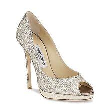 Jimmy Choo 'Quiet' Glitter Champagne Peep Toe Stiletto Heels  Shoes Eu 37 Uk 4 .