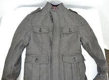 Mens Winter Military Style Coat Merona Wool Pockets SZ S Gray