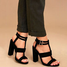 New Women Buckle Block High Heels Sandals Open Toe Ankle Strap Party Club Shoes