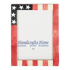 USA American Flag Picture Photo Frame Souvenirs Handmade Bone Frames Size - 5x7