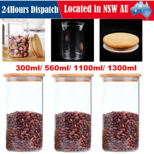 3x Glass Food Storage Container Jars Kitchen Tube Canister Set With Wooden Lid