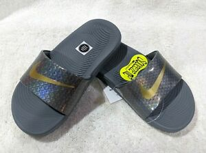 Nike Kid's Kawa Baby Dragon Grey/Gold Slide Sandals (GS/PS)-Size 11/12/13C NWB
