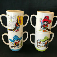 aPrice Japan Vintage Childs Mugs Cups Two Handles Cowboy Cowgirl Set of 4 12 oz