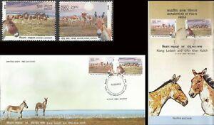 Wild Donkeys Indian FDC Folder Kiang & Khar Ass animals life India Inde mammals