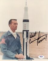 WALT CUNNINGHAM SIGNED 8x10 Saturn V Photo NASA Astronaut Apollo 7 PSA/DNA Ins