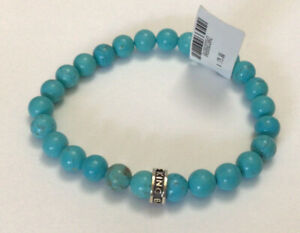 King Baby Studio 8mm Turquoise Beads & Sterling Silver Station Bracelet NWT $175
