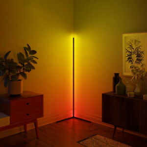 RGB Colour Changing Corner LED Floor Lamp Minimalist Mood Light 140cm - Remote