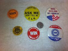 Vintage Union Button 6pc lot Bring back american jobs