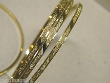 Lady's Bangle Bracelet Set of 4 Yellow Gold Plated Aros 3mm Wide Hand Engraved