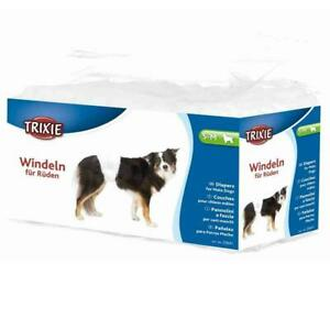12 x Trixie Male Dogs Diapers, Disposable Nappies - Small-Medium, 30-46 cm Waist
