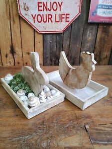 Landhaus Tablett Hase / Hahn 30 cm aus Holz shabby Schale Oster Deko Tisch