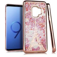 For Samsung Galaxy S9 - Rose Gold Paris Eiffel Tower Glitter Stars Liquid Case