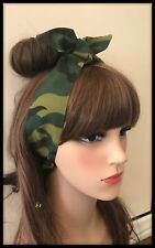 Green Camouflage Headband Bandana Head Scarf Hair Tie Band Army Girl Hairband