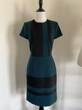 HUGO BOSS Blue 2 'Dermely' Green Black Stripe Wool Dress FASHION HAVEN
