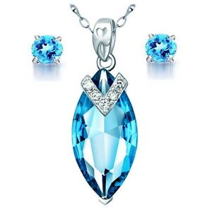 "Love & Hearts Blue Topaz Pendant 18"" Necklace & Earring Set .925 Sterling Silver"