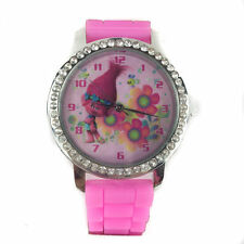 Trolls Poppy Watch with Rhinestones & Silicone Band Analog Kid & Adult School