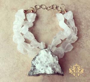 Crystal Druzy Snow White Geode XL Pendant Statement Necklace Icy Quartz Nuggets