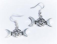 Ohrringe Gothic Pentagram pentakel mond silberfarben  170