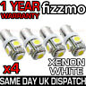 4x 5 SMD LED XENON WHITE SIDE LIGHT BULB 233 T4W BA9S CAP BAYONET 360 DEG UK