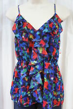 Aqua Top Sz XS Blue Multi Spaghetti Strap Ruffle Business Cocktail Blouse