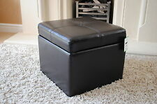 Dark Brown Genuine Full Leather Storage Footstool Pouffe NEW