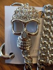 NEW Rock Punk Goth  Silver JEANS Chain CRYSTAL Skull Jeans Chain / Wallet